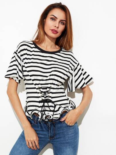 Corset Belt Detail Lettuce Hem Striped Tee
