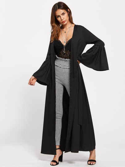 Self Tie Exaggerated Bell Sleeve Abaya
