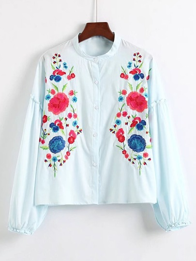 Drop Shoulder Frill Trim Embroidery Blouse