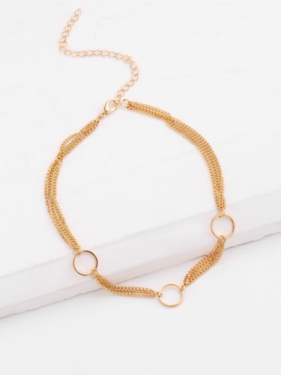 Three Open Circle Layered Choker Necklace
