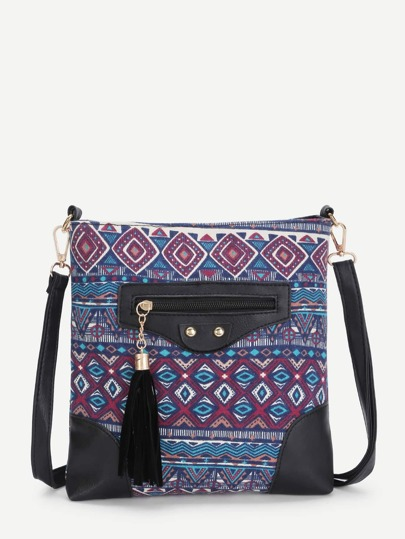 Geometric Print Cross Body Bag With Tassel