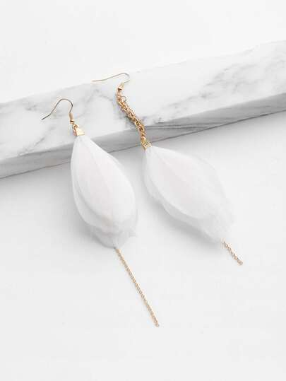 Feather And Chain Mismatch Earrings
