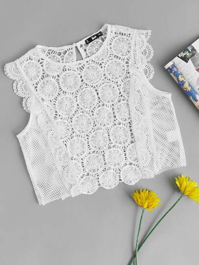 Hollow Out Circle Crochet Top
