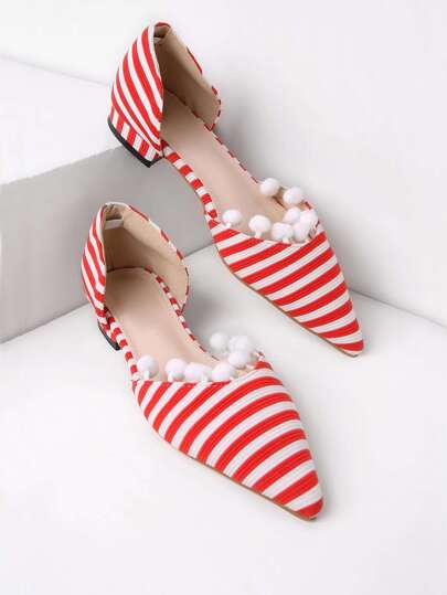 Pom Pom Embellished Pointed Toe Striped Flats