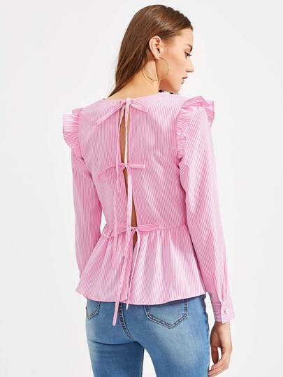 Split Tie Back Frilled Pinstripe Peplum Top