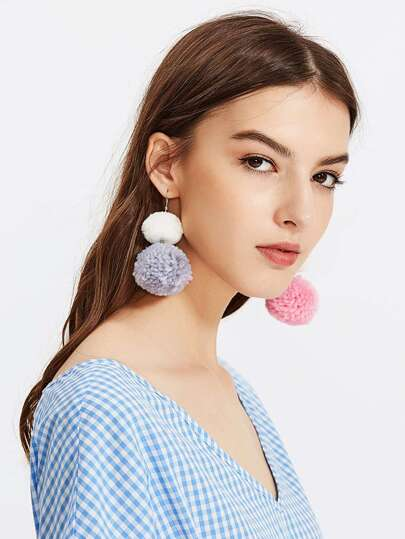 Glamorous Multi Pom Pom Cute Earrings