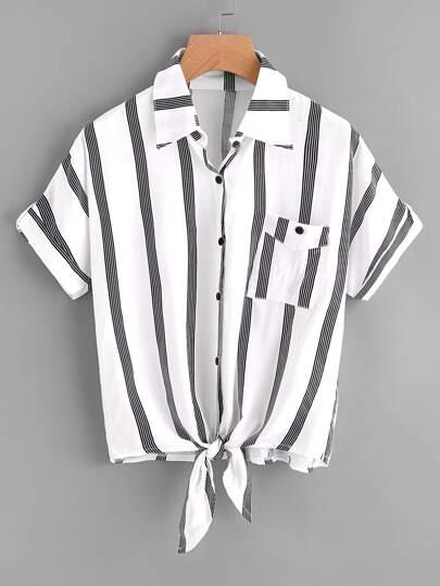 Vertical Striped Knotted Hem Shirt