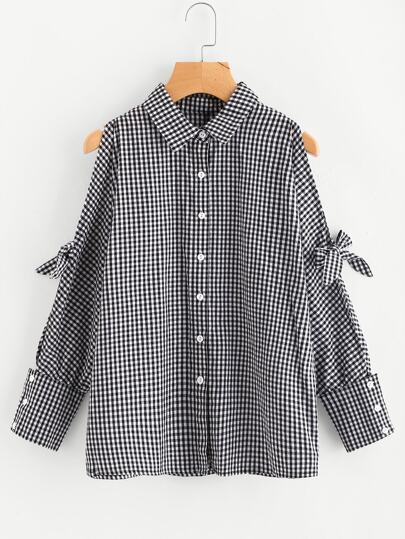 Knotted Split Dolman Sleeve Gingham Shirt