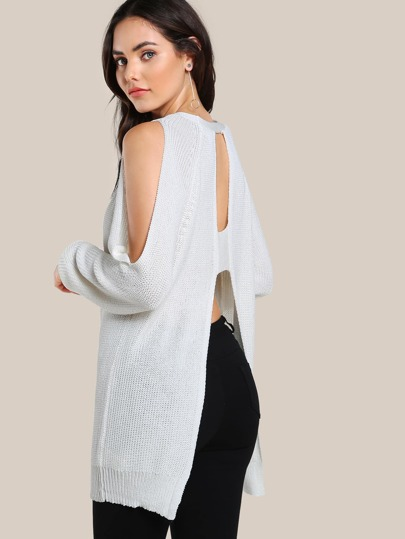 Cold Shoulder Back Cut Out Top IVORY
