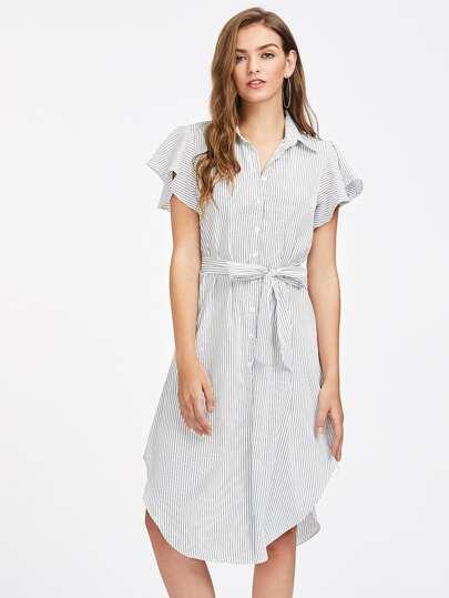 Vertical Striped Curved Hem Shirt Dress
