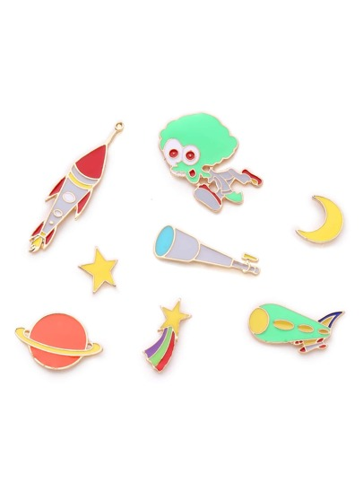 Rocket & Star Design Brooch Set