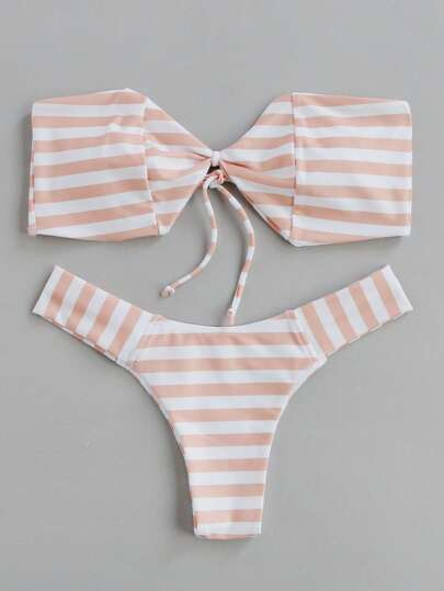 Block Striped Bandeau Bikini Set