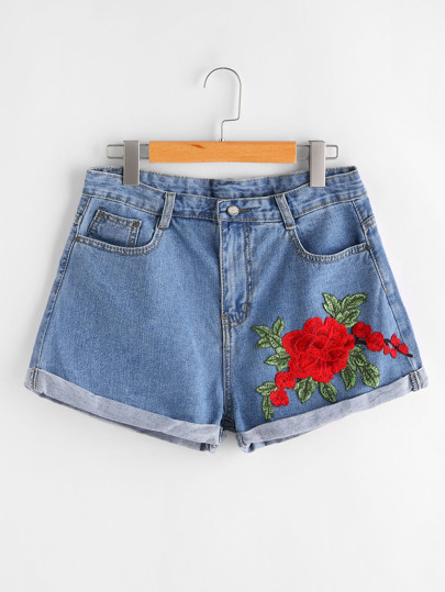 3D Applique Cuffed Denim Shorts