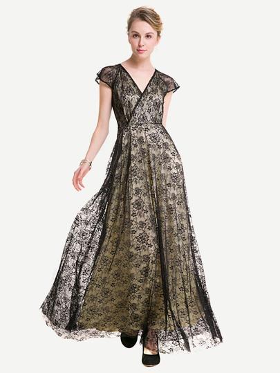 Surplice Neckline Floral Lace Overlay Dress