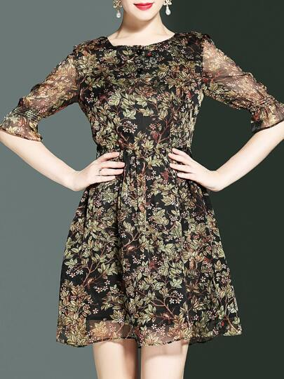 Bell Sleeve Leaves Print A-Line Dress