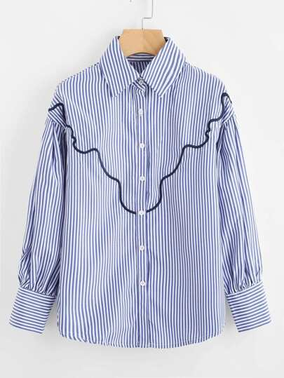 Contrast Striped Wavy Line Embroidery Shirt