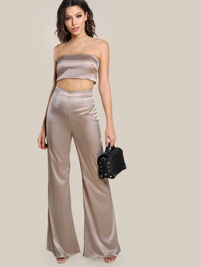 Satin Solid Bandeau & Matching Pants Set CHAMPAGNE