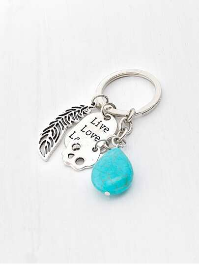 Leaf & Turquoise Decorated Keychain