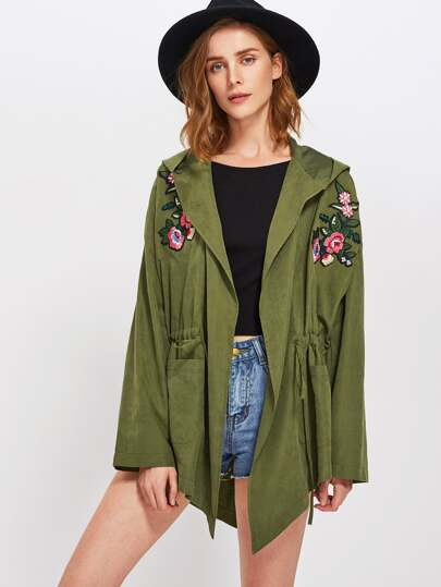 Flower Embroidery Lace Up Detail Coat