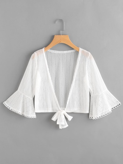 Fluted Sleeve Knot Open Front Mesh Top