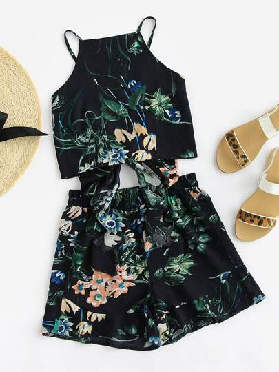 Tie Back Botanical Cami And Shorts Set