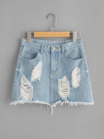 Light Wash Distressed Denim Skirt