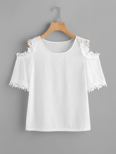 Crochet Lace Trim Open Shoulder Tee