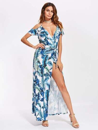Jungle Print High Split Self Tie Back Dress