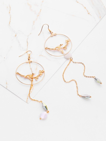 Branch & Ring Design Drop Earrings With Crystal