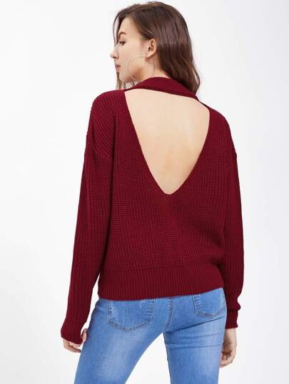Cutout V Back Jumper