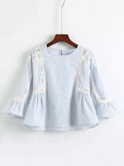 Bell Sleeve Crochet Insert Embroidered Top