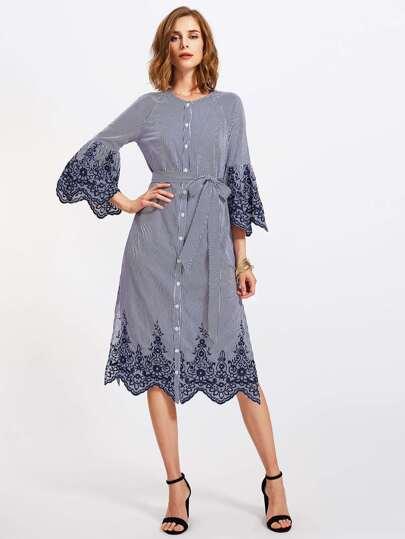 Fluted Sleeve Self Tie Side Slit Pinstriped Shirt Dress
