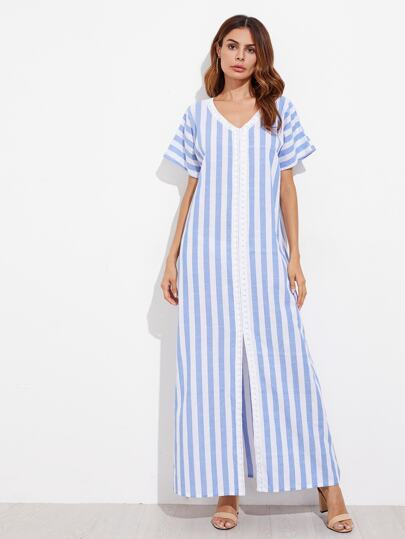 Lace Applique Split Front Dress