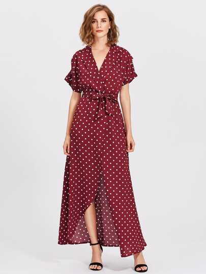 Polka Dot Self Tie Wrap Dress