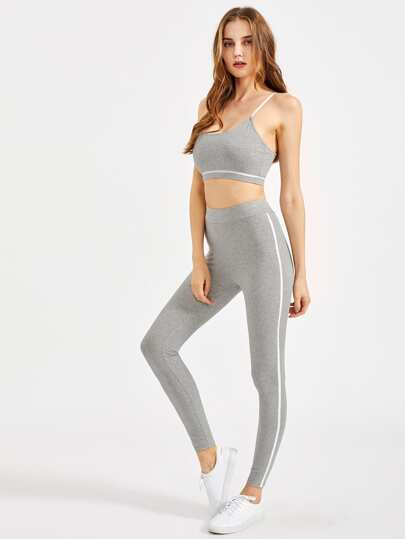 Binding Detail Heathered Sports Bra And Leggings Set