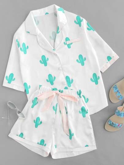 Pyjamas mit Kaktusmuster und Träger um die Taille