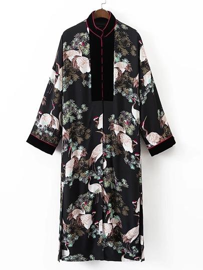 Kimono fendu contrasté imprimé des grues