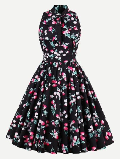 Allover Cherry Print Bow Tie Neck Circle Dress