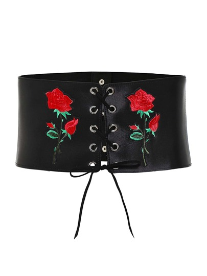 Flower Embroidery Criss Cross Belt