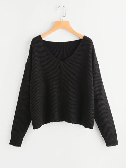 Maglione in maglia a coste con spalle scivolate