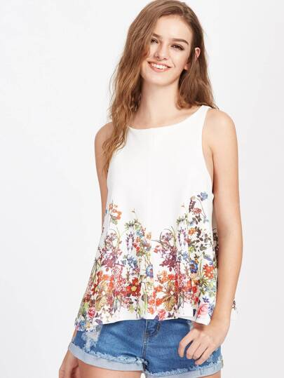 Botanical Print Split Overlap Back Tank Top