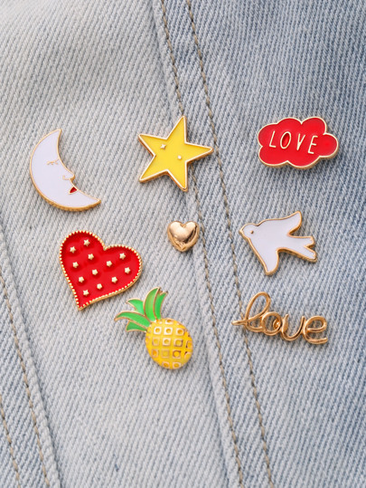 Heart & Star Design Cute Brooch Set