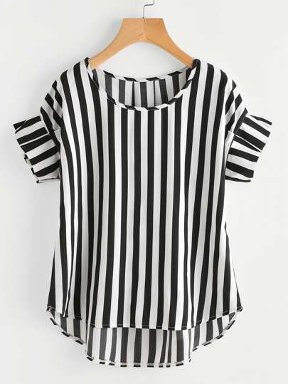 Contrast Vertical Striped Ruffle Sleeve Dip Hem Top
