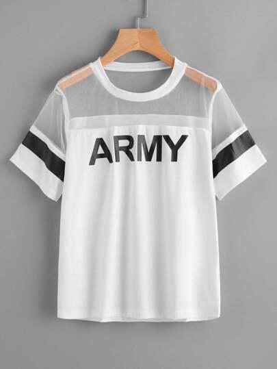 Army Print Mesh Panel Tee