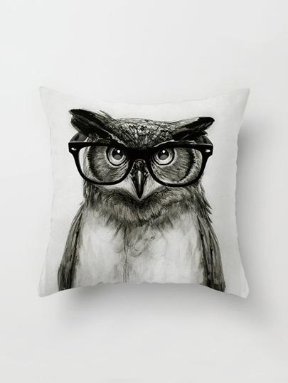 Funda de almohada con estampado de lechuza con gafas
