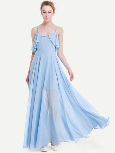 Crisscross Back Frill Trim Chiffon Dress