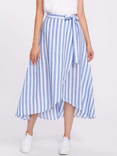 Contrast Striped Self Tie Wrap Skirt