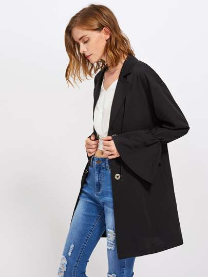 Bell Sleeve Snap Button Closure Longline Blazer