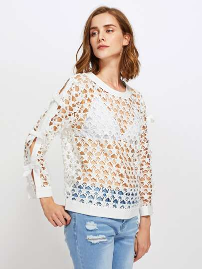 Bow Tie Sleeve Hollow Out Top