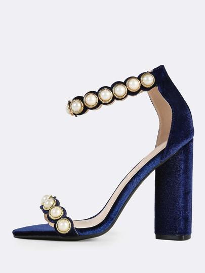 Velvet Pearl Band Ankle Strap Heels NAVY